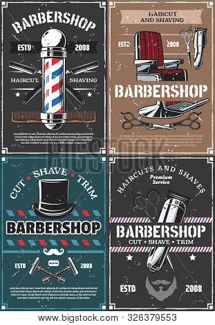 Barbershop Vector Design, Haircut And Shaving Of Hair, Beard And Mustache. Barber Shop Vintage Pole,