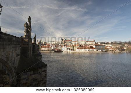 Karluv Most Bridge, Vltava River, Mala Strana And Hradcany With Prazsky Hrad Castle In Praha City In