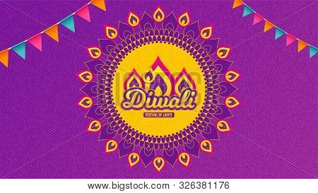 Diwali Festival Background. Hindu Festive Modern Greeting Card. Indian Rangoli Art Concept. Deepaval