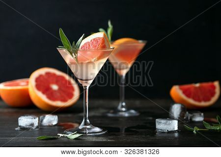 Sage And Pink Grapefruit Blush Gimlet, Front View