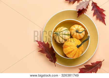 Autumn Pumpkin Decorative Table Setting, Home Decor Concept, View From Above, Blank Space For A Text