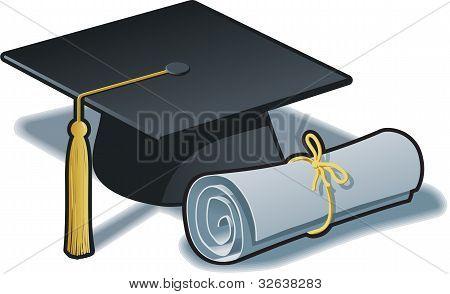 Gradutaion Hat And Diploma