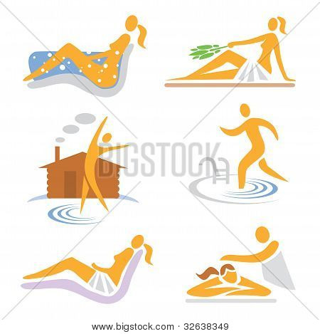 Set of wellness, sauna, spa, massage icons. Vector illustration. poster