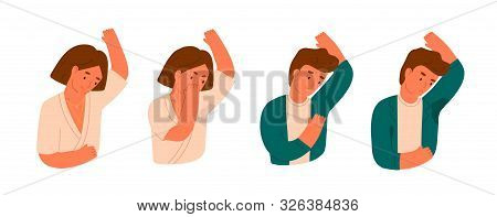 Wet Armpits Flat Vector Illustration. Smelly And Sweaty Stains On Male And Female Clothes Isolated O
