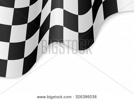 Checkered Flag Pattern. Car Race Or Motorsport Rally Flag On White Background.