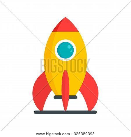 Kid Amusement Rocket Icon. Flat Illustration Of Kid Amusement Rocket Vector Icon For Web Design