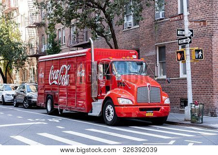New York, United States Of America - September 21, 2019: A Coca Cola Truck Parked In The Streets Of