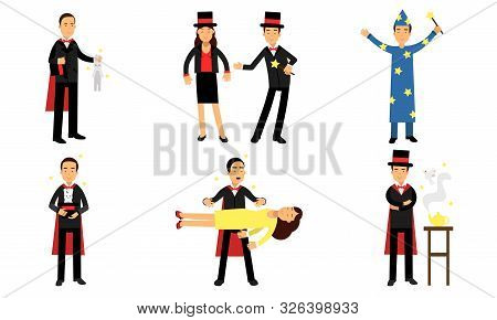 Vector Illustrations Set With Magic Tricks Of Illusionist Isolated On White Background