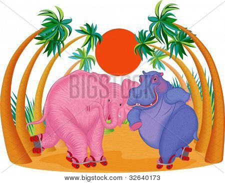 Cute hippo and elephant riding on roller skates. All objects are grouped and separated to layers. poster