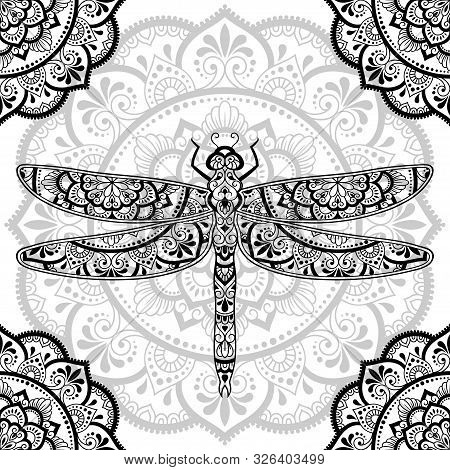 Dragonfly Decorated With Indian Ethnic Floral Vintage Pattern. Hand Drawn Decorative Insect In Doodl