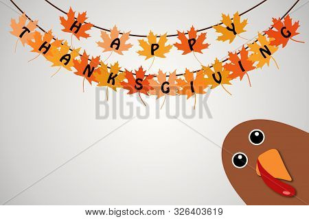Happy Thanksgiving Text Cartoon Turkey On White Gradient Background Thanksgiving Poster. Hanging Map
