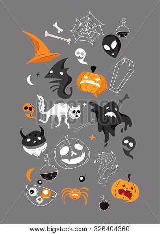 Vector Icon And Element Collection For Helloween Greeting Card And Poster, Party Sign. Concept Illus