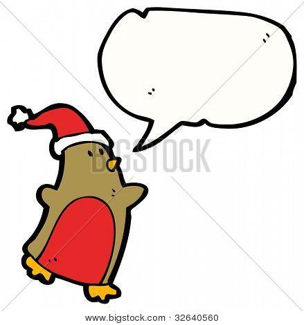 cartoon robin wearing santa hat poster
