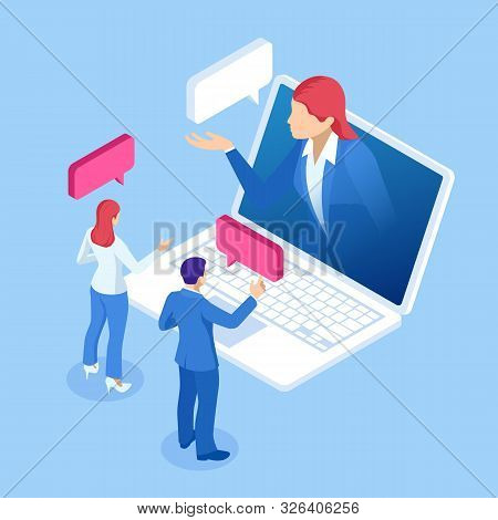 Isometric Online Virtual Assistant Services And Artificial Intelligence Concept. Chat Bot And Future