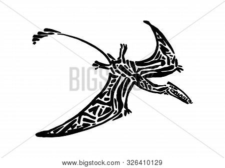 Ancient Extinct Jurassic Eudimorphodon Dinosaur Vector Illustration Ink Painted, Hand Drawn Grunge P