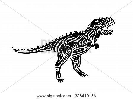 Ancient Extinct Jurassic Carnotaurus Dinosaur Vector Illustration Ink Painted, Hand Drawn Grunge Pre