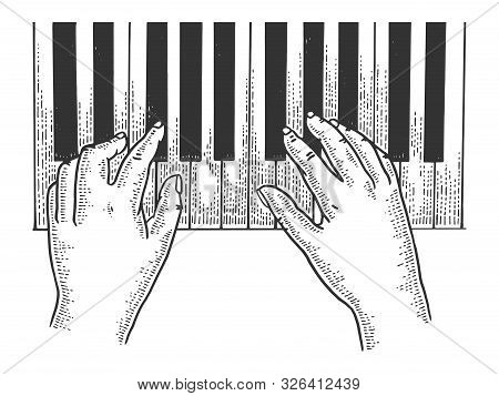 Hands And Piano Keys Sketch Engraving Vector Illustration. T-shirt Apparel Print Design. Scratch Boa