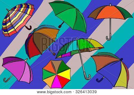 Set And Background Of Stylish Image Of Umbrellas. Autumn Umbrellas. Umbrellas Protecting From Rain.
