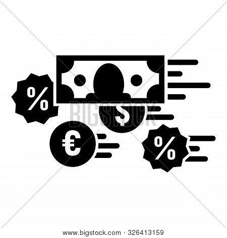 Money Percent Converter Icon. Simple Illustration Of Money Percent Converter Vector Icon For Web Des