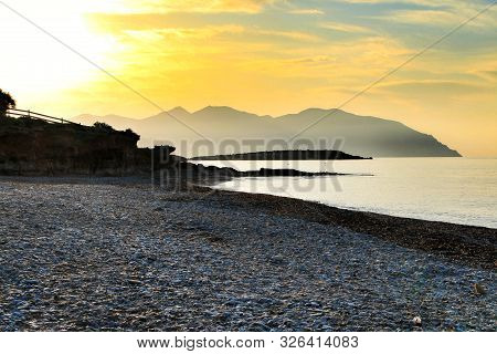 Beautiful Sunrise on the beach in Isla Plana, Cartagena, Murcia,Spain. poster