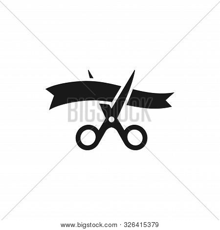 Scissors Cutting Ribbon Simple Black Vector Icon. Grand Opening, Inauguration Symbol.