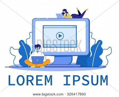 People Get Education Online Watching Video Tutorial On Pc Monitor. Distance Learning Lesson, E-learn