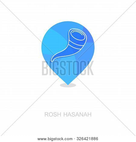Shofar. Rosh Hashanah Pin Map Icon. Shana Tova Map Pointer. Happy And Sweet New Year In Hebrew. Map