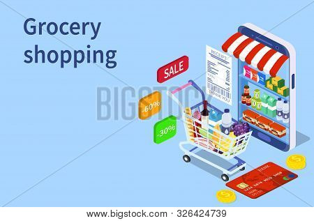 Online Grocery Shopping Concept. Isometric Shopping Cart With Fresh Food And Drink.order Food, Groce