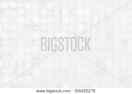 White Or Gray Ceramic Wall And Floor Tiles Abstract Background. Design Geometric Mosaic Texture For