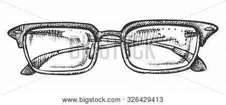 Glasses Corrective Vision Accessory Ink Vector. Men Optical Diopter Glasses For Reading And Good Eye