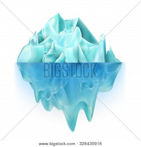 Glacier Icy Rock Floating On Ocean Water Vector. Big Glacier Aqua North-polar Climb With Undersea An