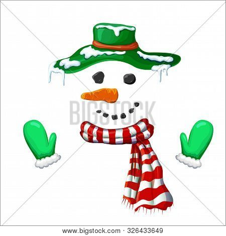 Vector Cute Simple Xmas Snowman Illustration. Snowman Face With Green Hat Striped Holiday Scarf And