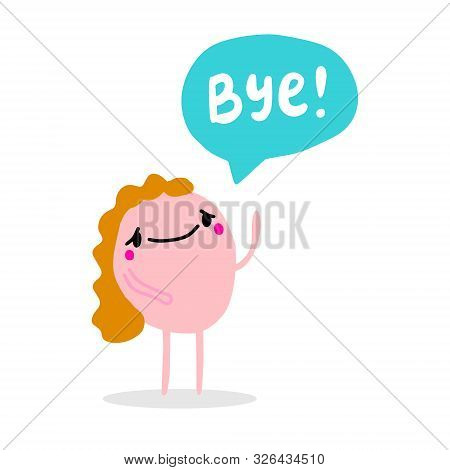 Bye Hand Drawn Vector Illustration In Cartoon Comic Style With Pink Man