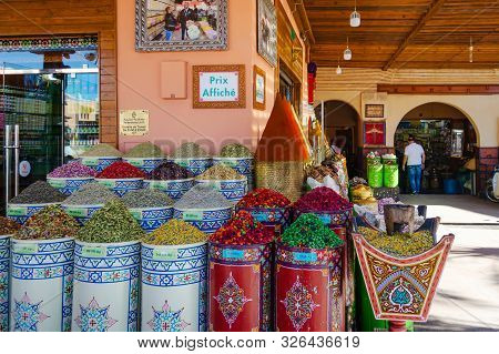 Morocco. Marrakesh. December 8, 2018. Shop With Different Spices Morocco Marrakesh Travels Sights