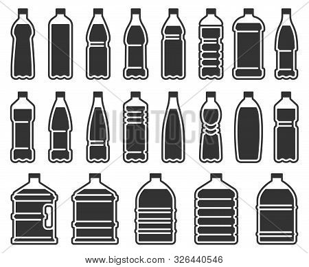 Plastic Bottles Silhouette Icon. Mineral Water Drink Bottle, Cooler Pure Liquids Package Stencil. Dr