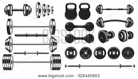 Gym Equipment Silhouette. Fitness Sport, Heavy Weight Barbell And Vintage Bodybuilding Stencil. Well