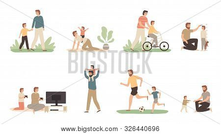 Father and son. Dad raising young boy, parenting child and fathers love concept. Daddy and son family activity, sons with father relationship or fatherhood isolated vector illustration icons set poster
