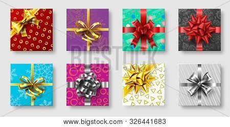 Gift Boxes With Ribbon Bow. Gifts Decoration Bows, Christmas Holidays Top View Presents Boxes. Xmas