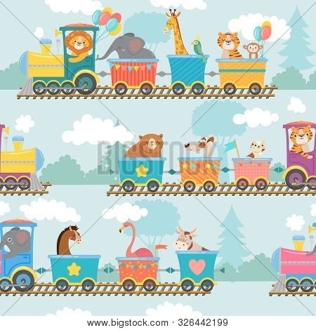 Seamless Animals On Train Pattern. Happy Animal In Railroad Car, Trains Trip And Children. Elephant,