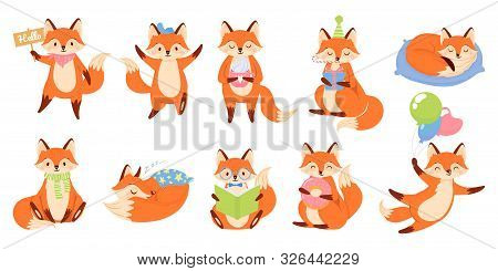 Cartoon Fox Mascot. Funny Animal Character, Cute Red Foxes With Black Paws. Foxy Mammal, Clever Fur
