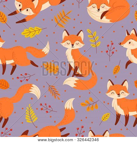 Seamless Foxes Pattern. Autumn Fox, Cute Orange Animal Poster. Golden Season Foxy With Leaf Greeting