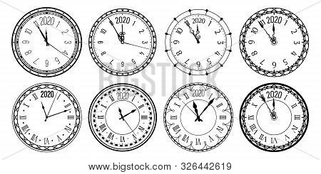 Round 2020 Clock. New Year Countdown Watch Face, Vintage Watches And Clocks For Christmas Greeting C
