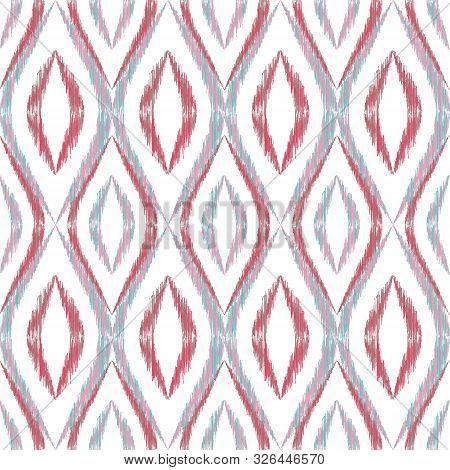 Ikat Ogee Seamless Vector Pattern Design. Ethnic Fabric Print Geometric Ikat Pattern. Minimal Ogee S