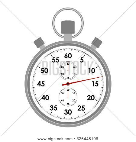 Stopwatch Graphic Icon. Stopwatch Symbol Isolated On White  Background. Design Template Closeup. Vec
