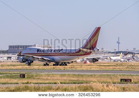 Frankfurt Germany 11.08.19 Kalitta Air Boeing 747 Jumbo Jet 4-engine Jet Airliner Starting At Frapor
