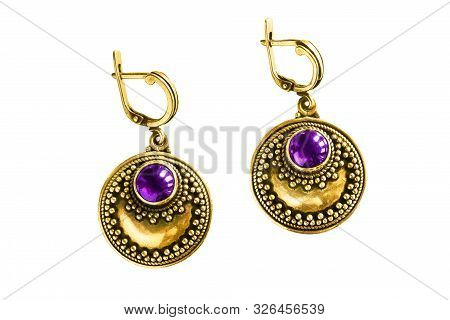 Pair Of Vintage Gold Amethyst Earrings On White Background