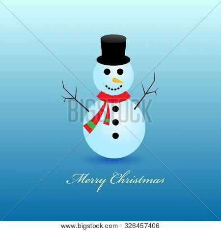 White Snowman With Red Santa Hat, Scarf And Mittens Isolated On Blue Background. Winter Symbol. Chri