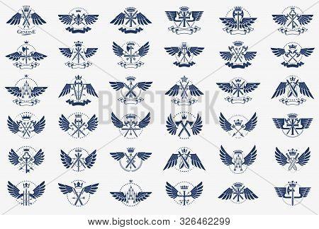 Vintage Weapon Vector Logo Or Emblems, Heraldic Design Elements Big Set, Classic Style Heraldry Mili