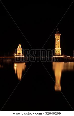 In the port of Lindau at Lake Constance - Germany - at night