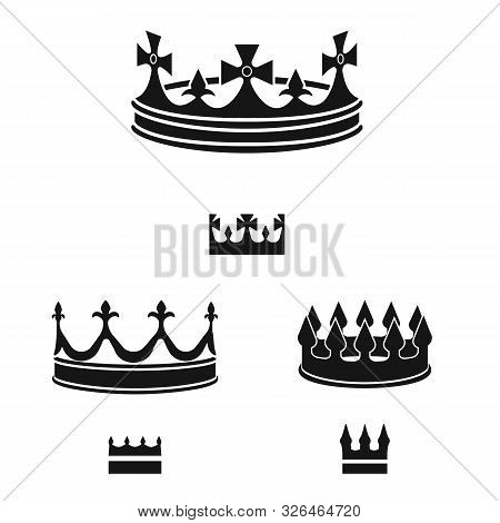 Vector Illustration Of King And Majestic Logo. Collection Of King And Gold Stock Vector Illustration